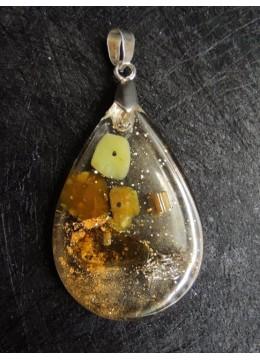Оргонит медальон за привличане на пари с оливин и сребро