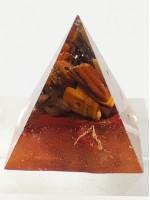 Пирамида оргонит с тигрово око, Морион и медни частици за Пари и здраве размер S