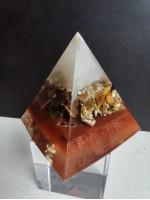 Пирамида оргонит за привличане на късмет и пари с тигрово око XL