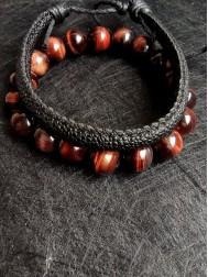 Подарък за зодия Скорпион комплект гривни от Червено тигрово око и естествена кожа модел Luck