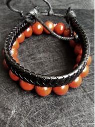 Подарък за зодия Стрелец комплект гривни от Червен Яспис и естествена кожа модел Wealth