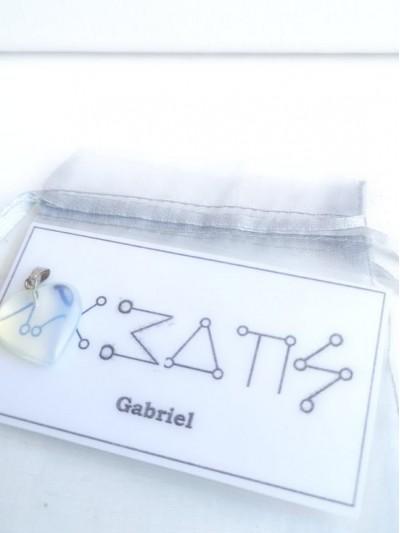 Комплект Амулет с ангелски руни за Архангел Габриел и сърце от лунен камък