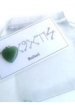 Комплект Амулет с ангелски руни за Архангел Рафаел и сърце нефрит